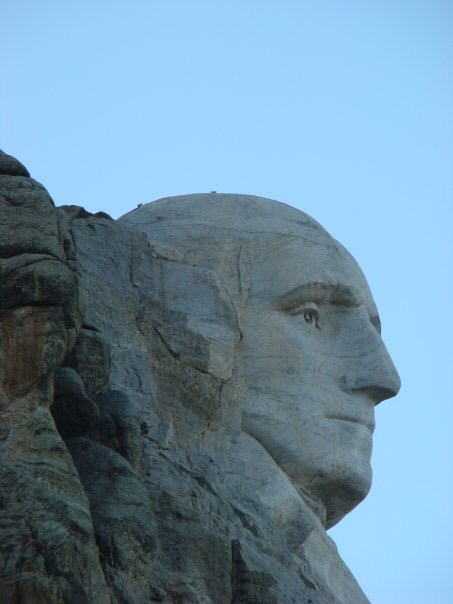 Carving of George Washington at mount rushmore