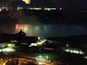 View of the falls at night
