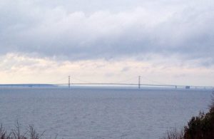 View of the mighty Mackinac Bridge from the Grand Hotel