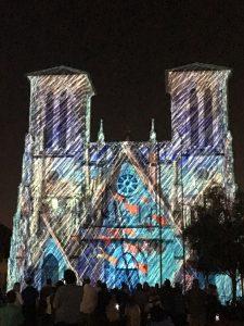 Laser light show at San Fernando Cathedral