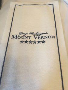 Napkin at the Mount Vernon Inn