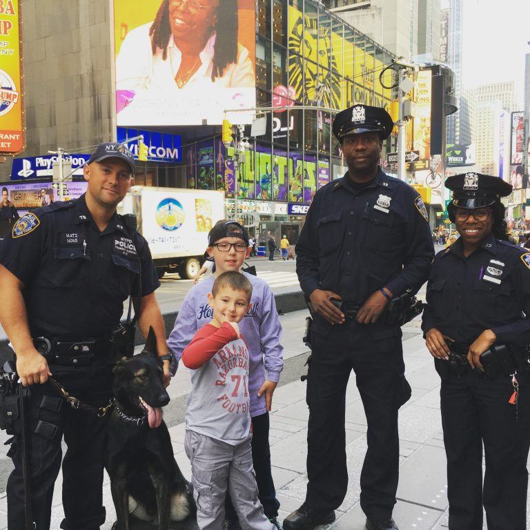 New York Police Officers with dog and kids