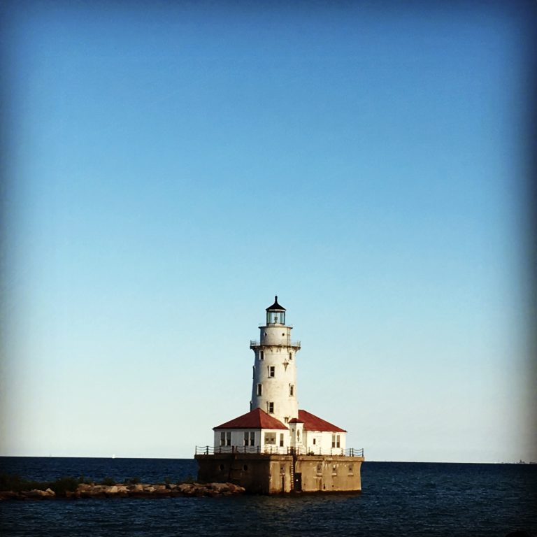 Old Lighthouse on Lake Michigan