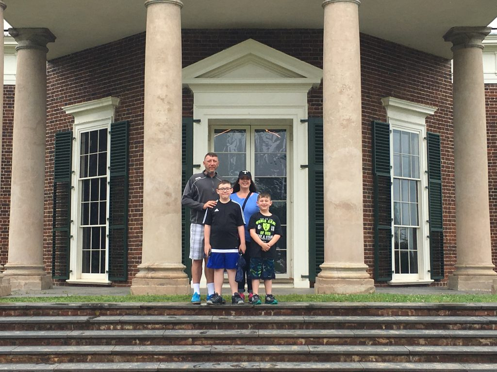 On the back porch of Monticello