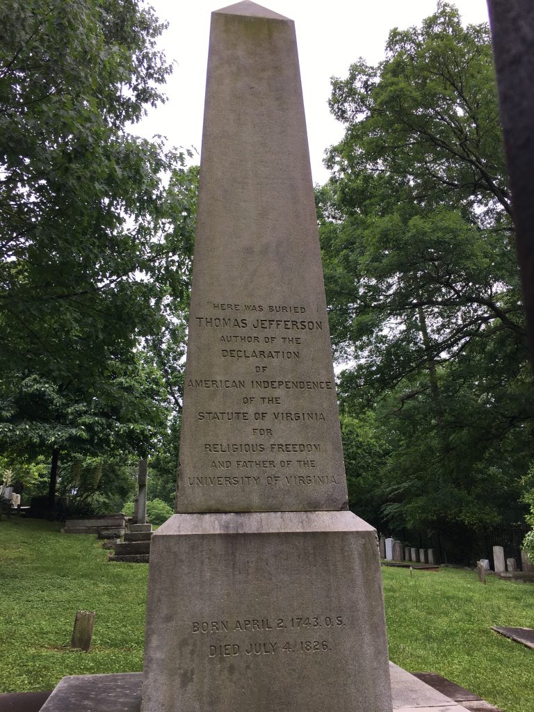 Thomas Jefferson's Obelisk tombstone