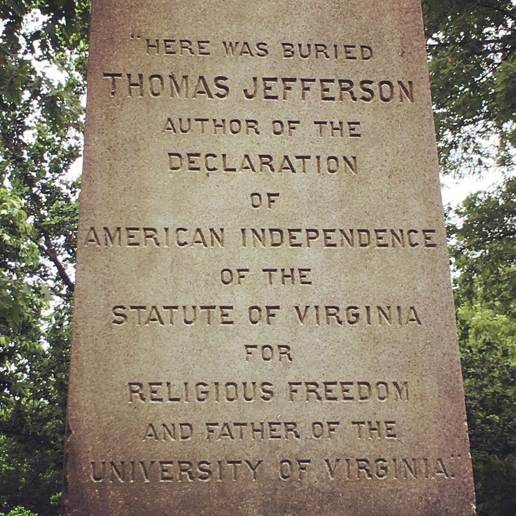 Close up of Jefferson's tombstone