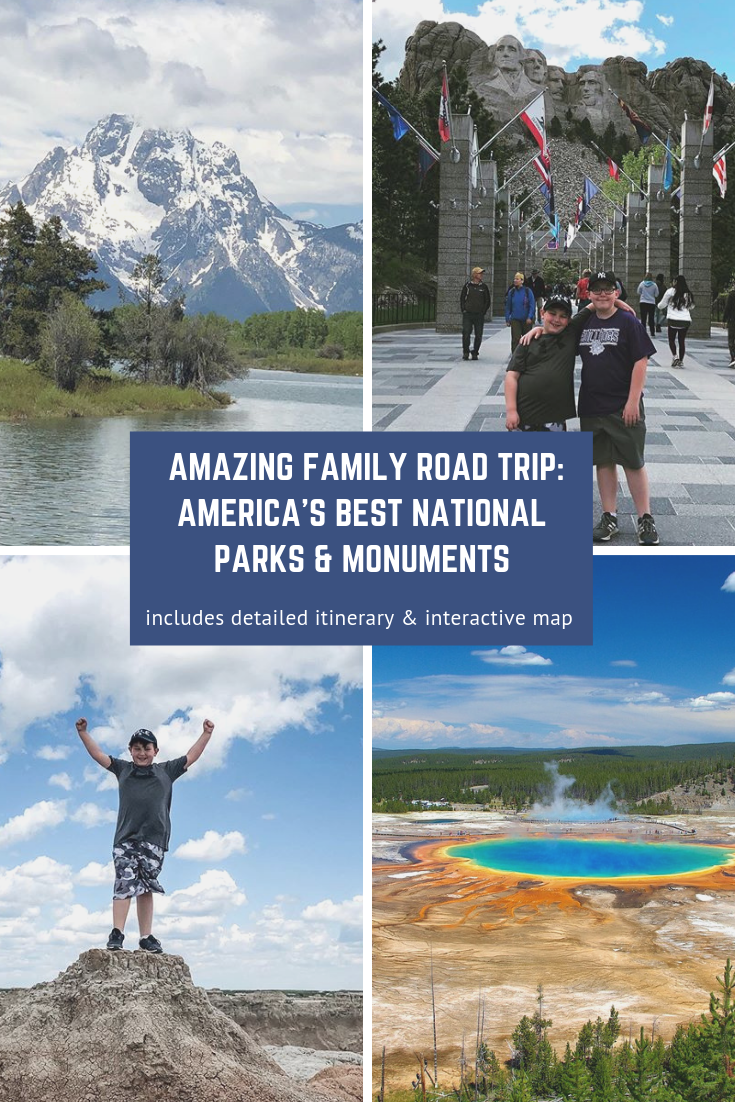 We love a good road trip and one to any National Park or Monument is always ideal. This amazing road trip will be a treat for your family and you'll make wonderful memories that will last a lifetime. This road trip itinerary packs in a lot so get ready for a family road trip to end all road trips! #nationalparks #roadtrip #yellowstone #grandteton #devilstower #mountrushmore #badlands
