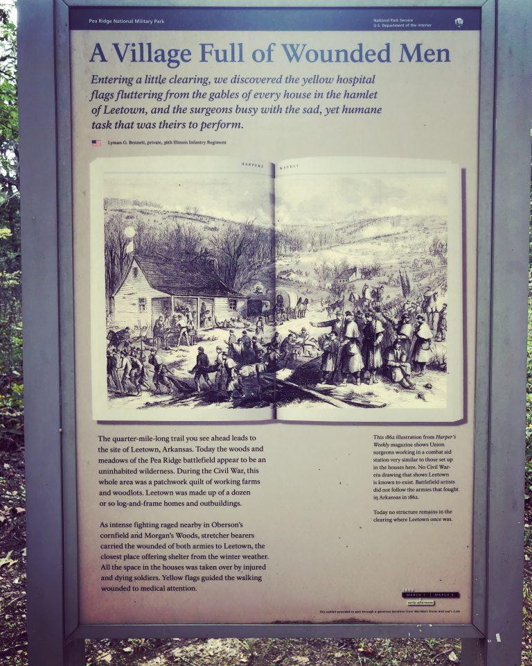 sign describing old village at pea ridge battlefield