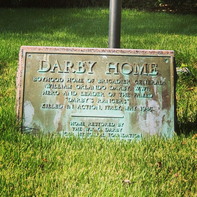 plaque in front of darby house