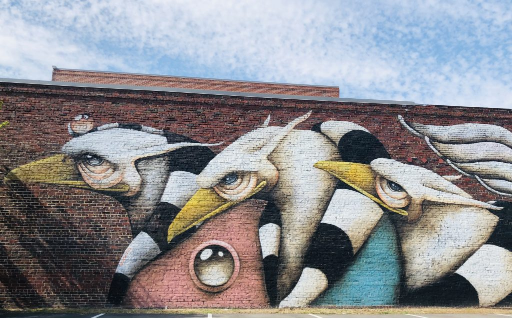 mural on brick wall