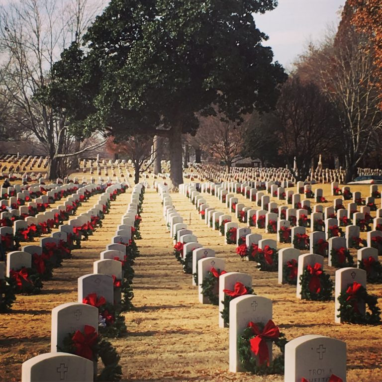National Cemetery in fort smith decorated with christmas wreaths