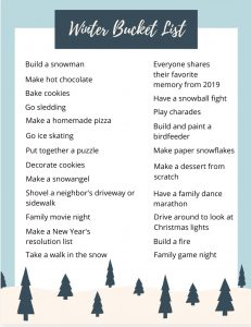 Free Holiday & Winter Bucket Lists