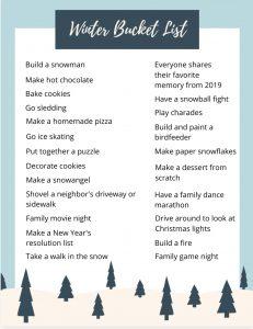 Free Holiday & Winter Bucket Lists