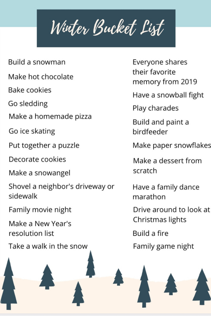 Get ready for Winter and the Holidays with our FREE bucket lists! Print the one you want and enjoy this magical season