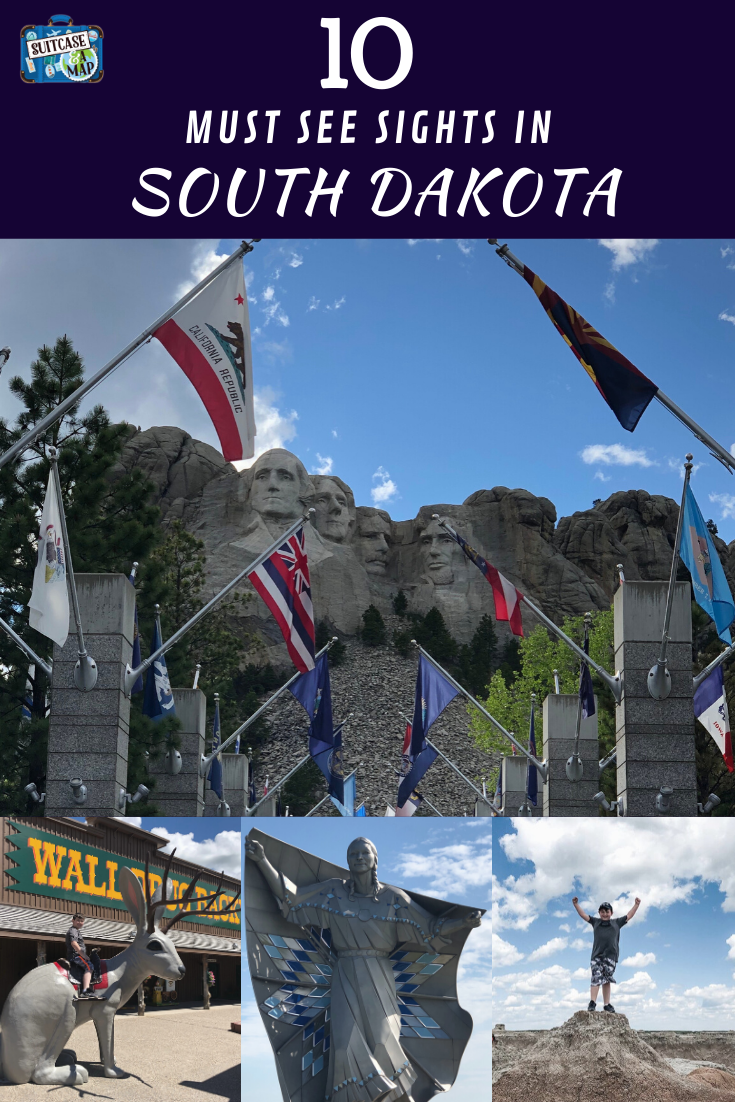 mount rushmore flags, wall drug sign and badlands national park