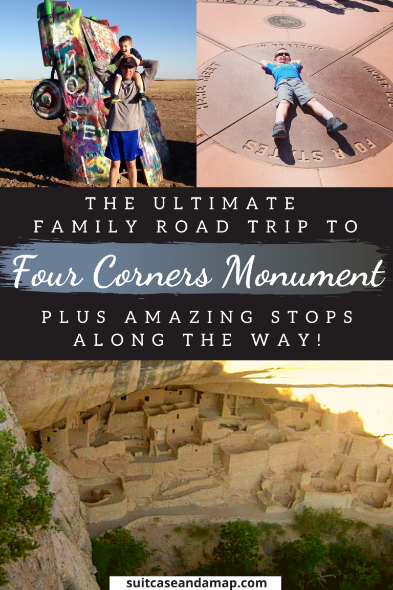 A road trip to Four Corners will give you the opportunity to be in four states at once! Four Corners Monument meets at the corners of Colorado, Utah, Arizona and New Mexico and the road trip to Four Corners offers a TON of fun stops along the way. We have a full itinerary and interactive map to make sure you have the best family road trip ever! #roadtrip #fourcornersroadtrip #fourcornersmonument #americansouthwest