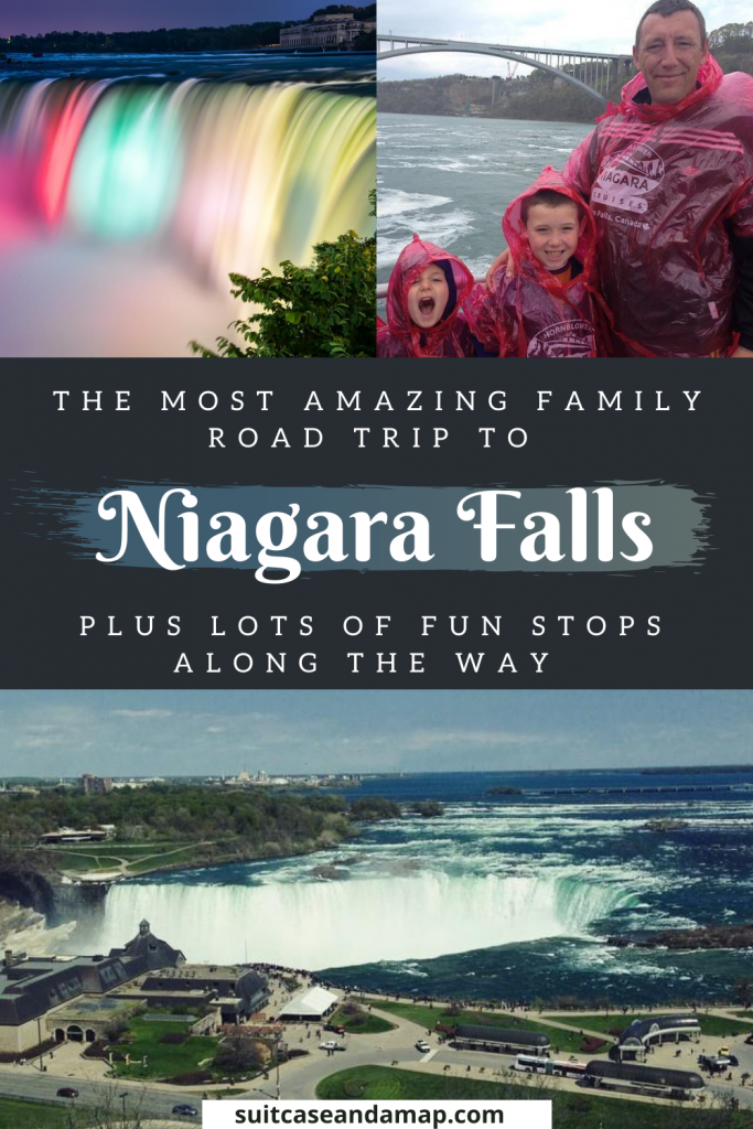 Family road trips are the best and a family road trip to Niagara Falls is amazing! We have a full itinerary and interactive map to help you plan your trip to Niagara Falls. We have things to do in Niagara Falls, how to ride the boat in Niagara Falls and things to do with kids in Niagara Falls. PLUS there are a TON of really fun stops along the way that you and your family will love! #roadtrip #niagarafalls #travelingwithkids