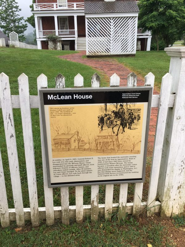 historic marker sign for mclean house